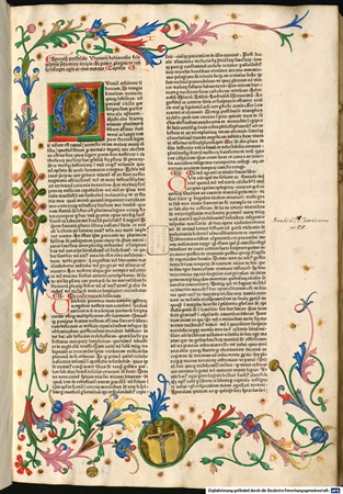 Opening page of the Speculum Doctrinale from the incunabulum edition Straßburg, R-printer (= Adolf Rusch), ca. 1477